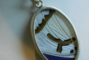 Butterfly Pendant.9.Large Vibrant White and Blue Oval.Front.JPG