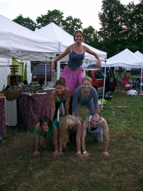The Dazzle Crew and friends, human pyramid!